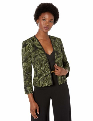 Kasper Women's Petite Palm Leaves Open Front Stretch Crepe Jacket