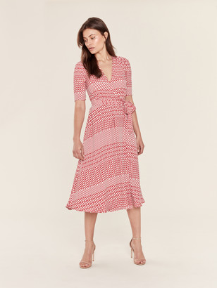 Joie Cata Striped Wrap Midi Dress