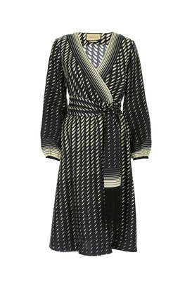 Gucci Printed Scarf Belted Wrap Dress
