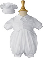 Little Things Mean a Lot Boys Cotton Christening Outfit Celebration Set with Vest and Hat Small