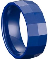 Blue Ceramic Ring by CERAMIC GESTALT® - 8mm Width. Square Faceted Design. (Avail. Sizes 5 to 14) Size 13 - RB8SF13