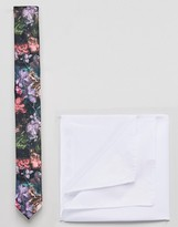 Asos Slim Floral Tie And White Pocket Square