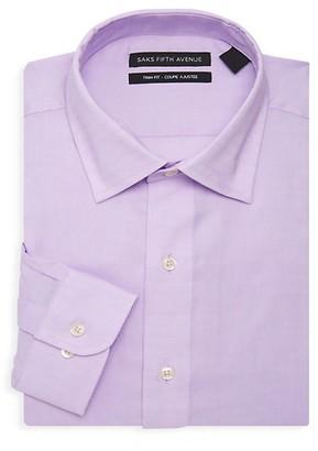 Saks Fifth Avenue Trim-Fit Solid-Color Dress Shirt