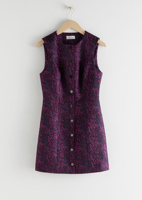 And other stories Micro Floral Jacquard Mini Dress
