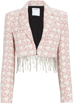 Area Crystal Fringe Houndstooth Cropped Blazer