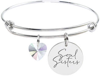 Swarovski Pink Box Women's Bracelets Silver - Stainless Steel 'Soul Sister' Bangle with Crystals