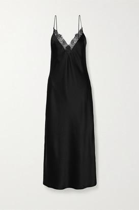 Anine Bing Katy Lace-trimmed Silk-charmeuse Midi Dress - Black