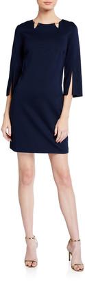 Trina Turk Trekking Split-Sleeve Ponte Dress