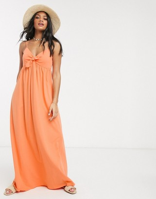 ASOS DESIGN cami bow front maxi sundress in apricot