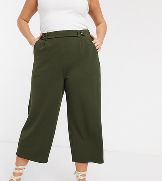 Only Curve cropped wide leg trousers in green