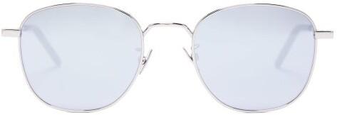 Saint Laurent Mirrored Round Sunglasses - Mens - Silver