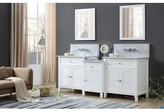 "Bynum 82"" Wall-Mounted Double Bathroom Vanity Set Rosecliff Heights Top Finish: White Carrara"