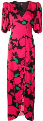 De La Vali Puff-Sleeve Floral Dress