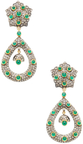 Artisan Women's 14K Yellow Gold, Silver, Emerald & 3.55 Total Ct. Diamond Open Marquis Earrings