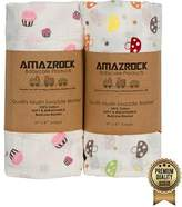 Amazrock Baby Muslin Swaddle Blanket - Soft 100% Cotton | 2 Large Baby Swaddle for Quality Baby Comfort & Sleep | Muslin Swaddling Blankets