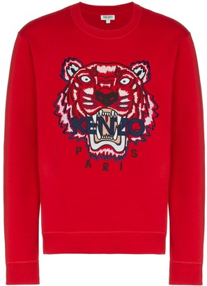 Kenzo Red Tiger Embroidered Cotton Sweatshirt