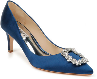 Badgley Mischka Carrie Crystal Pilgrim Satin Pumps