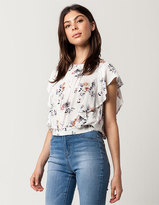 Blu Pepper Ruffle Floral Womens Top