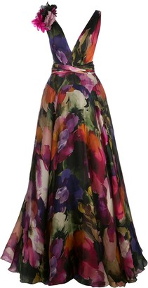 Marchesa Floral Patterned Gown