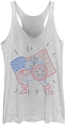 Licensed Character Juniors' Marvel Captain America Patriotic Line Art Tank Top