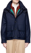 Marni Quilted hood wool blend melton jacket
