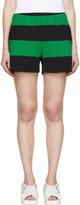 Stella McCartney Green & Black Striped Knit Shorts
