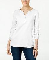 Karen Scott Long-Sleeve Henley Top, Only at Macy's