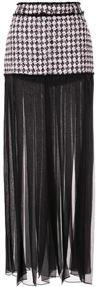 Balmain Houndstooth Sheer Pleated Skirt