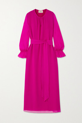 ARoss Girl x Soler Amanda Belted Silk-voile Maxi Dress - Magenta