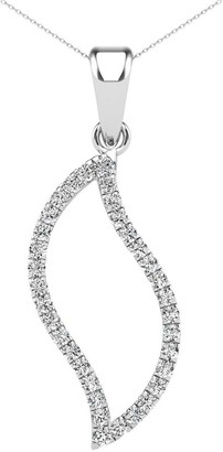 AALILLY 14K White Gold 1/5ct TDW Diamond Frame Leaf Pendant Necklace