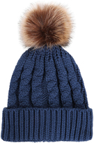 Simplicity Denim Blue Cable-Knit Faux-Fur Pom-Pom Beanie