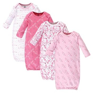Luvable Friends Baby Girl Cotton Gowns, 4-Pack