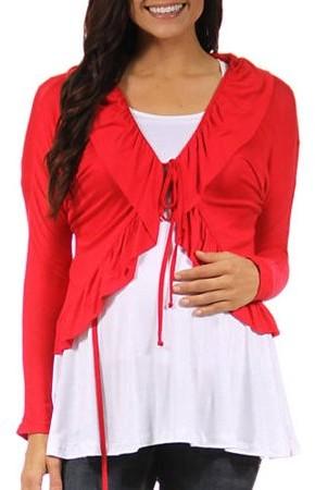 Women`s Long Sleeve Maternity Tie Front Jacket