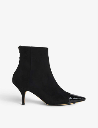 LK Bennett Athena patent leather-toecap suede ankle boots