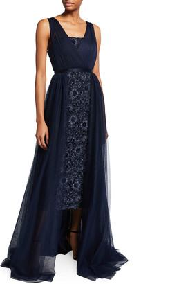 Aidan Mattox Sleeveless Floral Embroidered Dress w/ Overlay Skirt