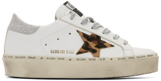 Golden Goose White and Silver Leopard Lurex Hi Star Sneakers