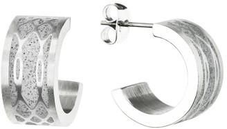 Gravelli Merge Concrete & Surgical Steel Hoop Earrings Grey