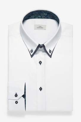Next Mens White Regular Fit Single Cuff Double Collar Shirt - White