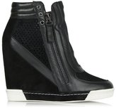 Daniel Perfo Black Suede & Leather Concealed Wedge Trainer