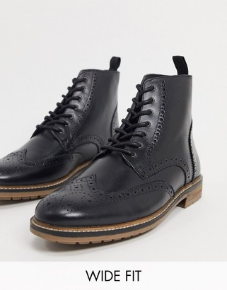 Silver Street wide fit lace up brogue boots in black