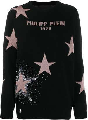 Philipp Plein Metallic Star Relaxed-Fit Jumper
