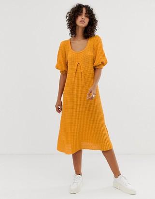 Asos Design DESIGN premium knitted oversize trapeze midi dress-Orange