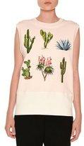 Stella McCartney Scuba Cactus-Patch Sleeveless Sweater, Jasmine Pink