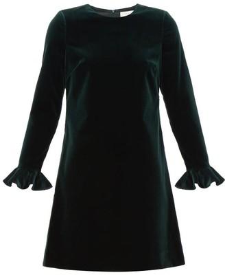Goat Isla Flared-cuff Cotton-blend Velvet Dress - Womens - Dark Green