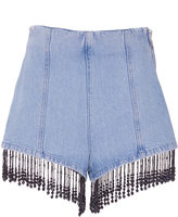 MSGM Cristal Embroidered Denim Shorts