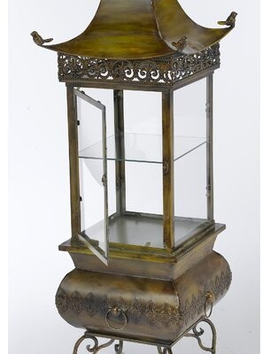 AA Importing Pagoda Cabinet with Glass Shelf Finish: Antique Yellow