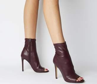 Office Aware Dressy Peep Toe Boots Burgundy Stretch