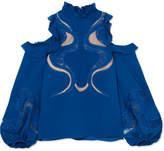 Elie Saab Cold-shoulder Lace And Mesh-paneled Crepe Blouse - Blue
