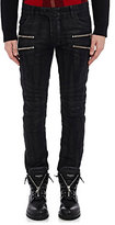 Balmain Men's Waxed Skinny Biker Jeans-BLACK