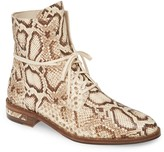 Freda Salvador Ralf Snake Embossed Lace-Up Boot
